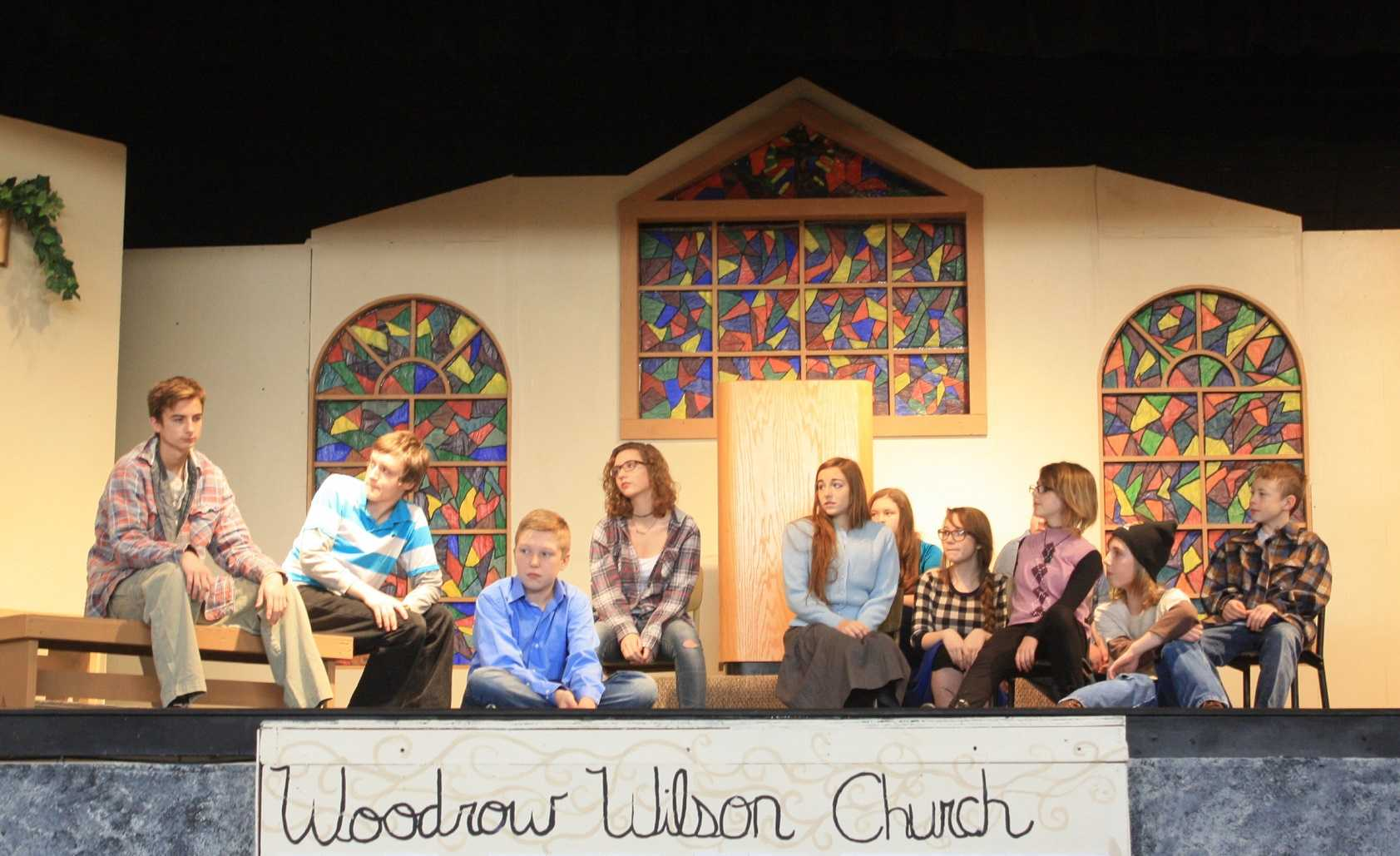 Students performed the play for the Elementary prior to their Friday and Saturday performances.