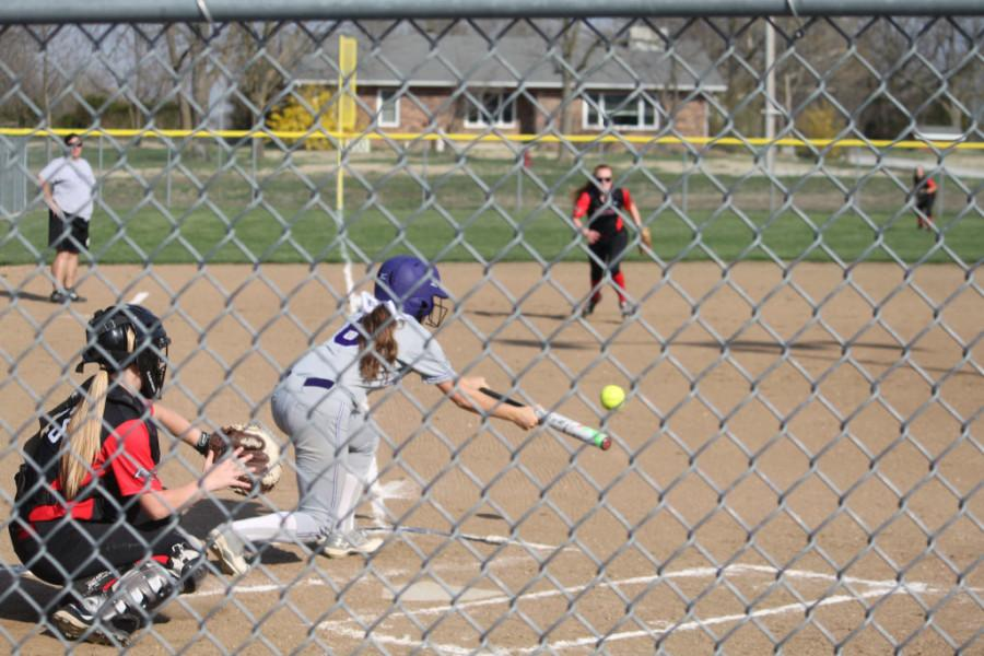 Junior Haley Stallings looks to bunt the ball in a game vs. Ash Grove