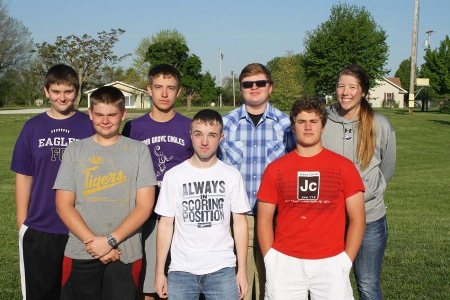 Back row: Noah Nivens, Jayden Kensinger, Carter Crews, and Emily Derrick. Front row: Philip Tucker, Caleb Johnston, and Thomas Breummer.