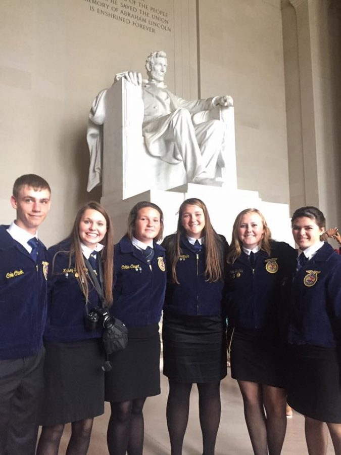 FFA officers pose in front of the Lincoln Memorial.  PHOTO PROVIDED BY  KELSEY BRUNKHORST
