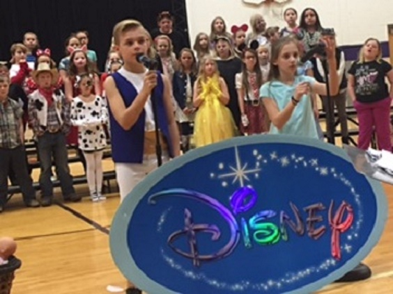 Fourth Grade students deliver lines in Disney program. PHOTO PROVIDED BY HEATHER LUMLEY