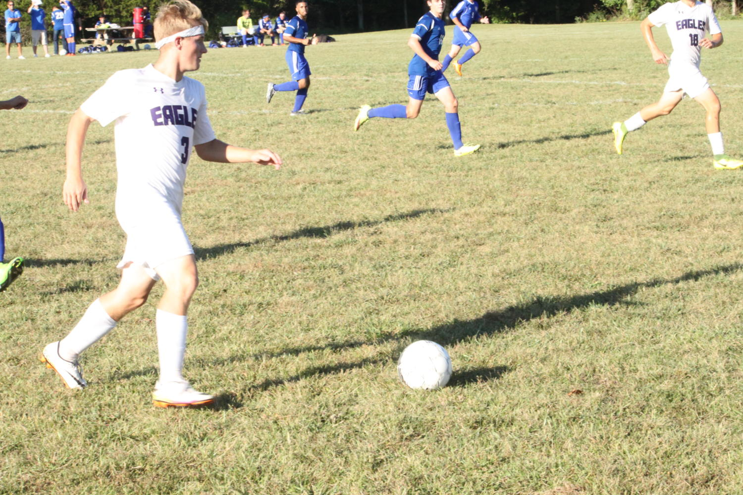 Garret Potter dribbles the ball