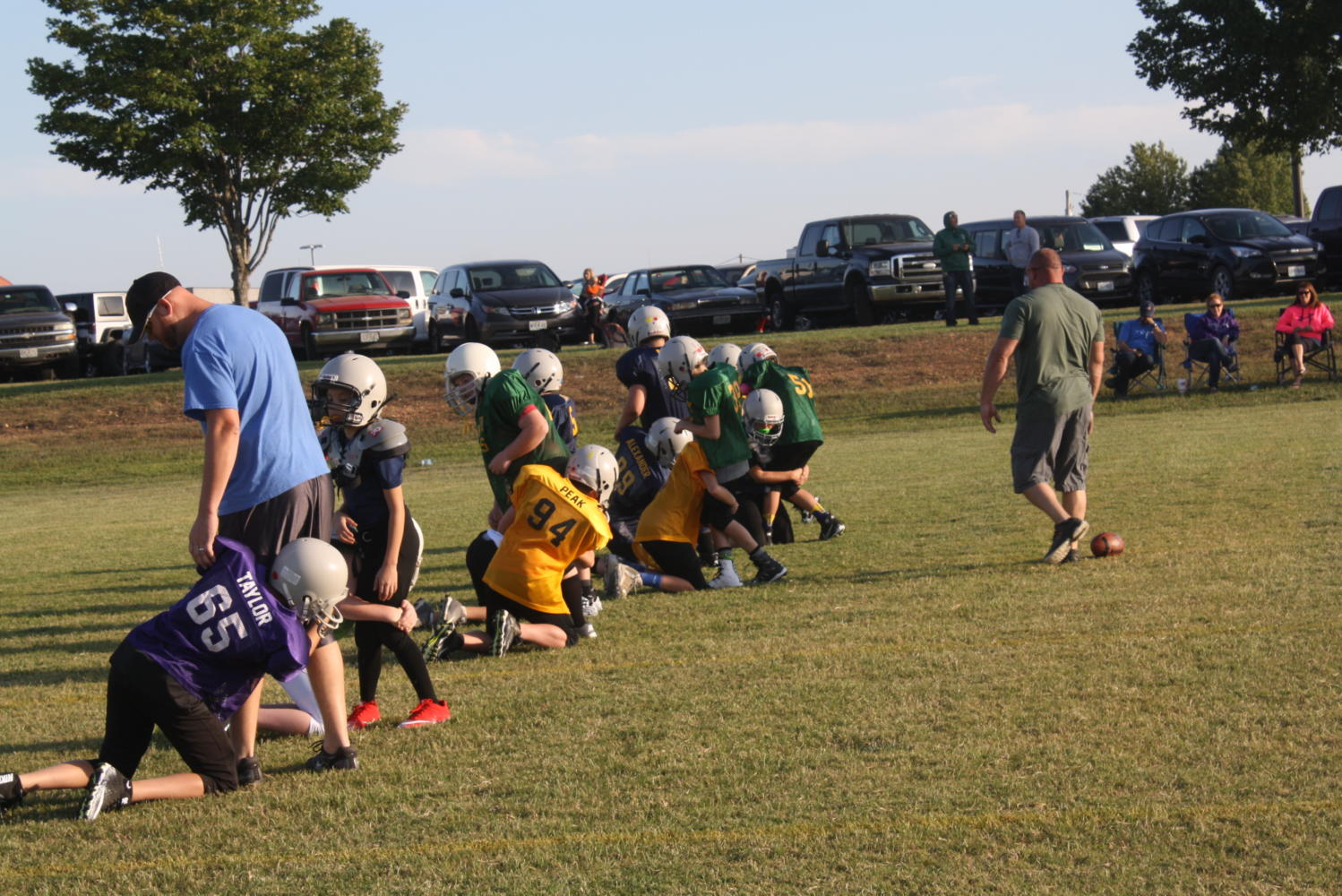 Mighty Mites practices for the first time this year
