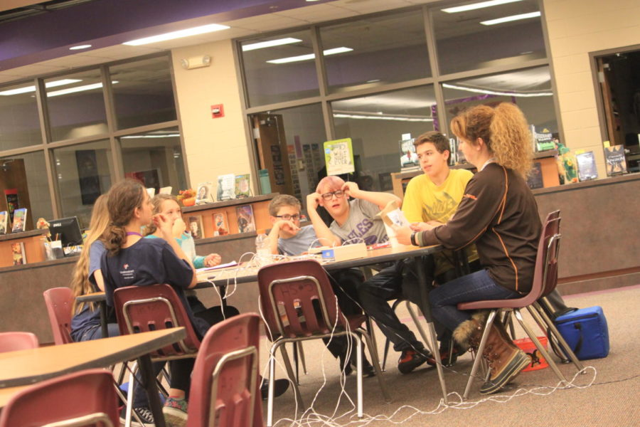 Fair Grove Scholar Bowl practices in the library