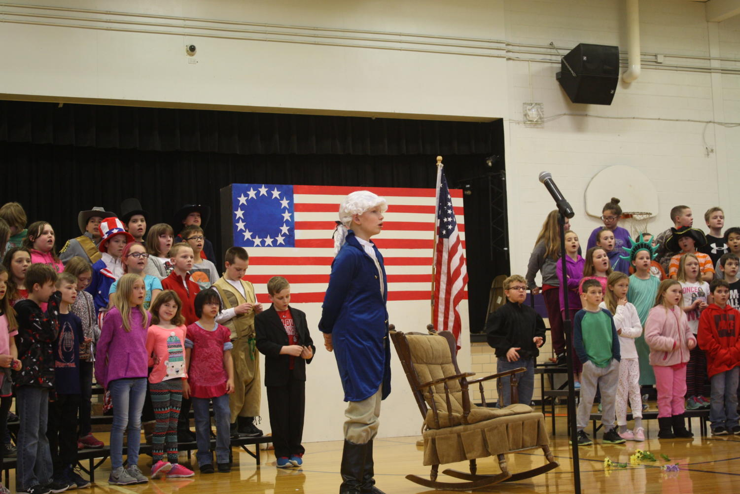 4th graders performing during their program.