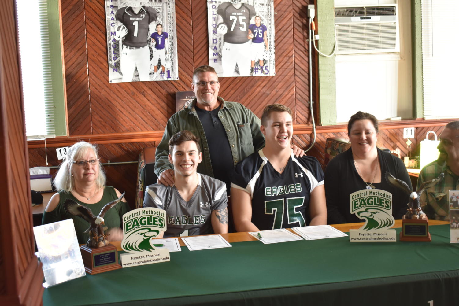 Seniors Colton Dame and Isaac Mauldin sign to play football for Central Methodist University