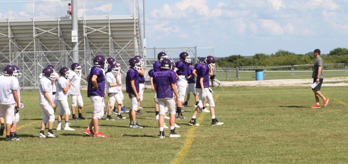 MS football team at practice