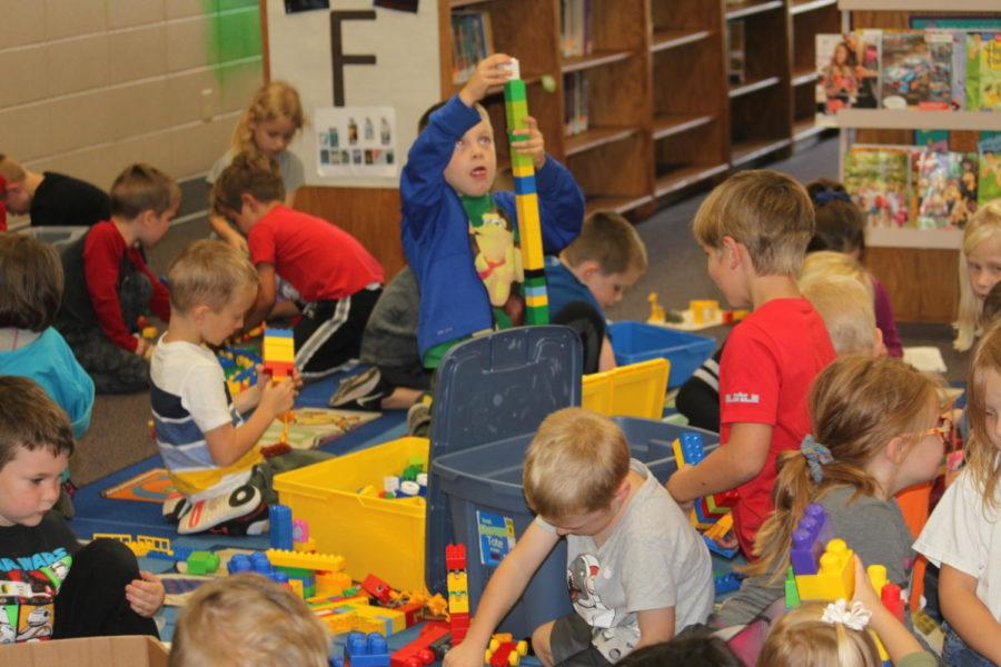 Elementary students enjoy their time at Lego Club