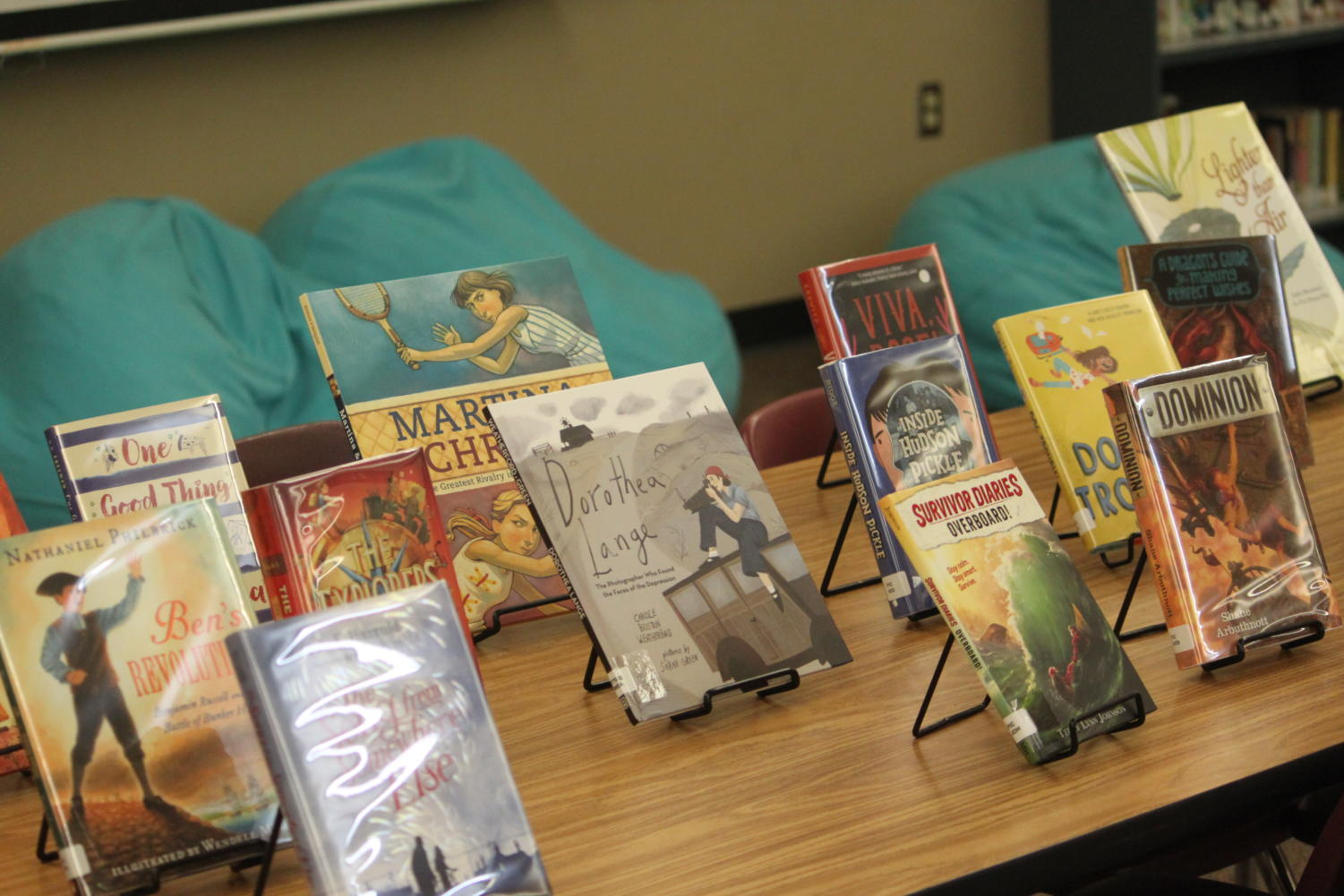 Middle school library books provided by PTO