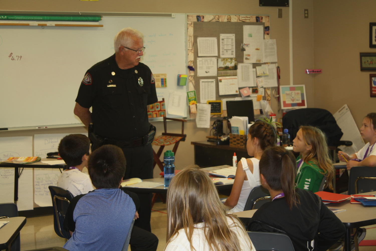 Officer Wagner talks with a class