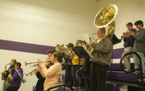 The Fair Grove Pep Band plays at a home basketball game