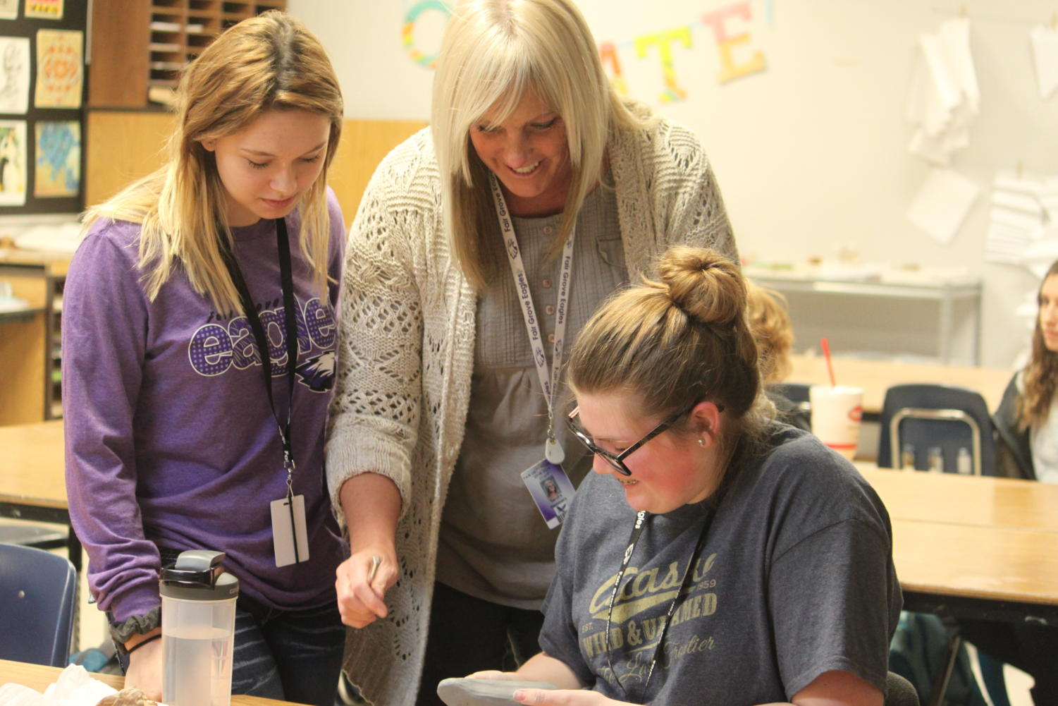 Some FTA  students learn from Mrs. Hammers