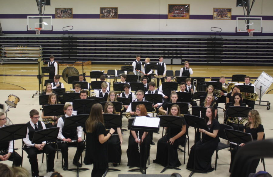 The band performs at their holiday program.