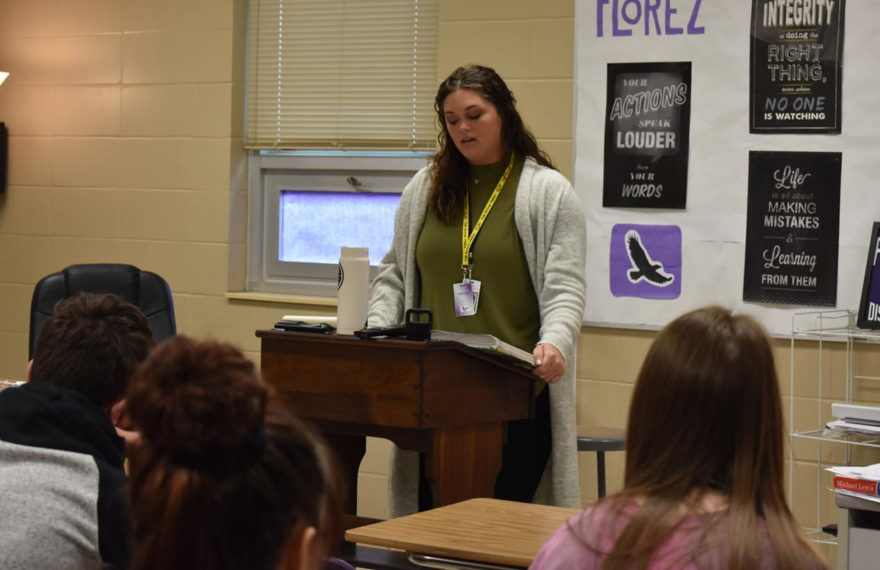 Emma Hill leads a lesson during an English I class.