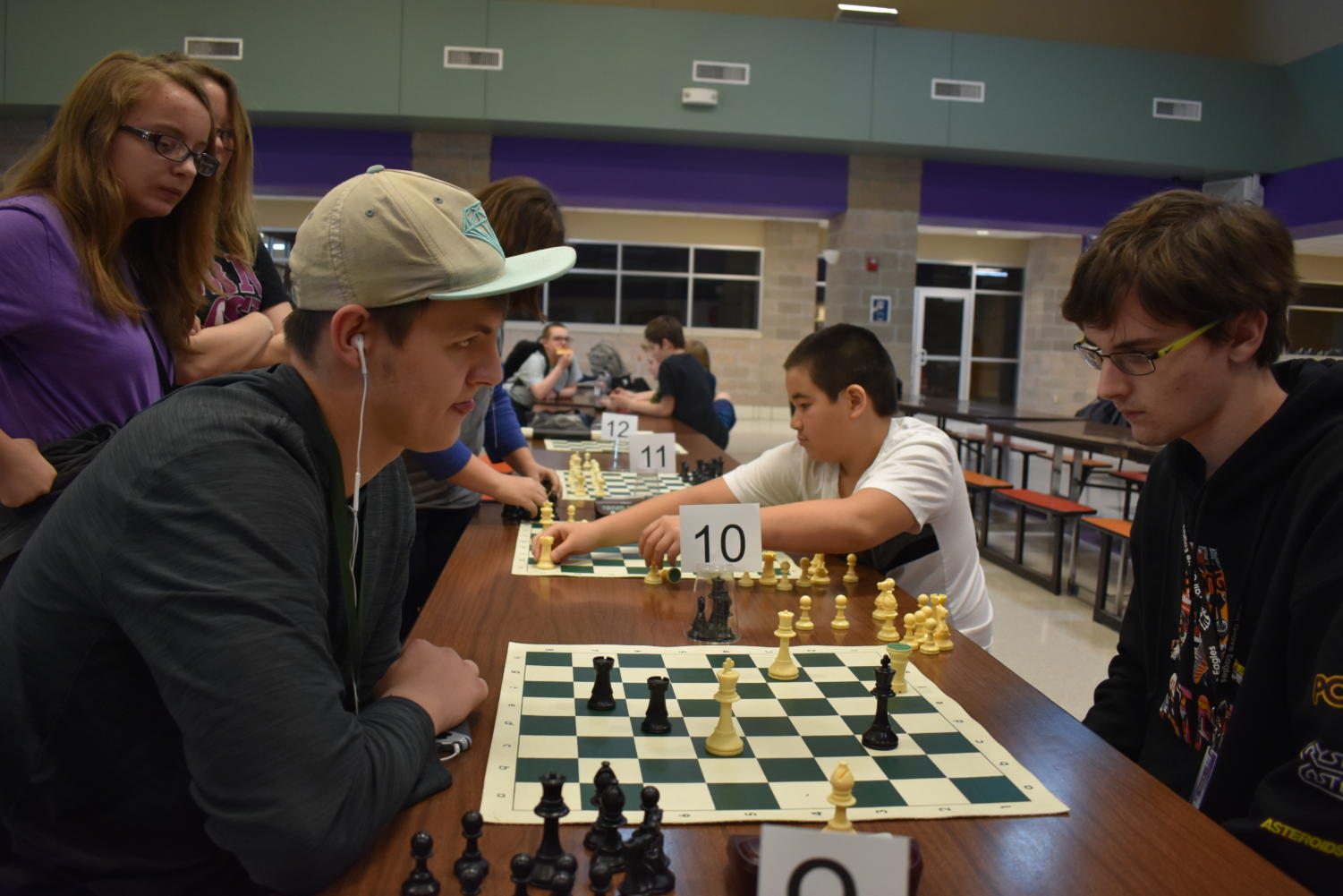 Bradley Shaffer and Alex Bates compete during the chess tournament.