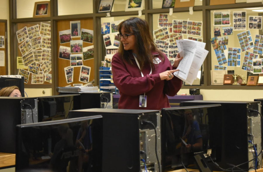 Sandra Robinson teaches during a class.