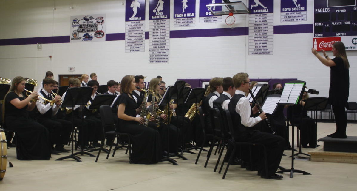 The band performs during a concert.