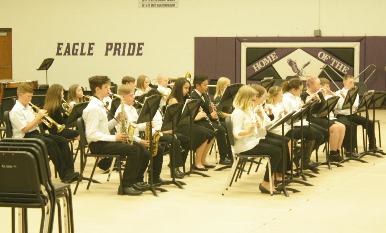 The band performs at their concert.