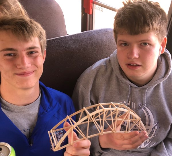 Stephen Scaletty (11) and David Perryman (11) pose with their bridge.