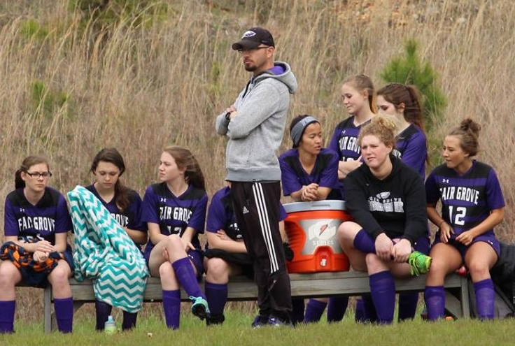 Joseph Florez coaches during a girls soccer game. Photo provided by Charity Bates