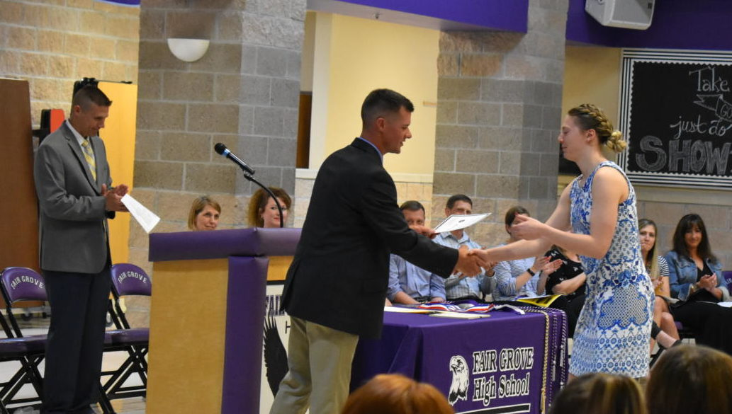 Assistant Principle Christian Overstreet presenting award to Alana Findley (12)