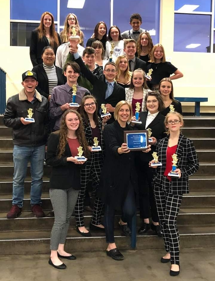 The Speech team celebrating their 2nd place victory, at the Hillcrest tournament