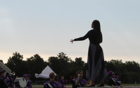 Drum Major, Avery Gautieri (12) leading the band at the MSU band competition