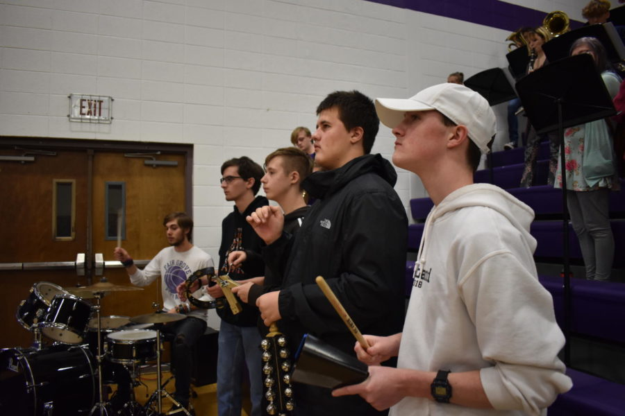 Fair Grove Pep Band playing at the girls basketball game on December 2nd