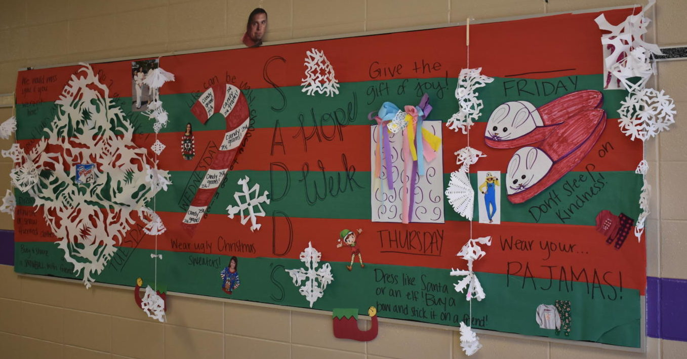 The SADD board, decorated by Senior, Taylor Essary to remind students what to wear throughout the week
