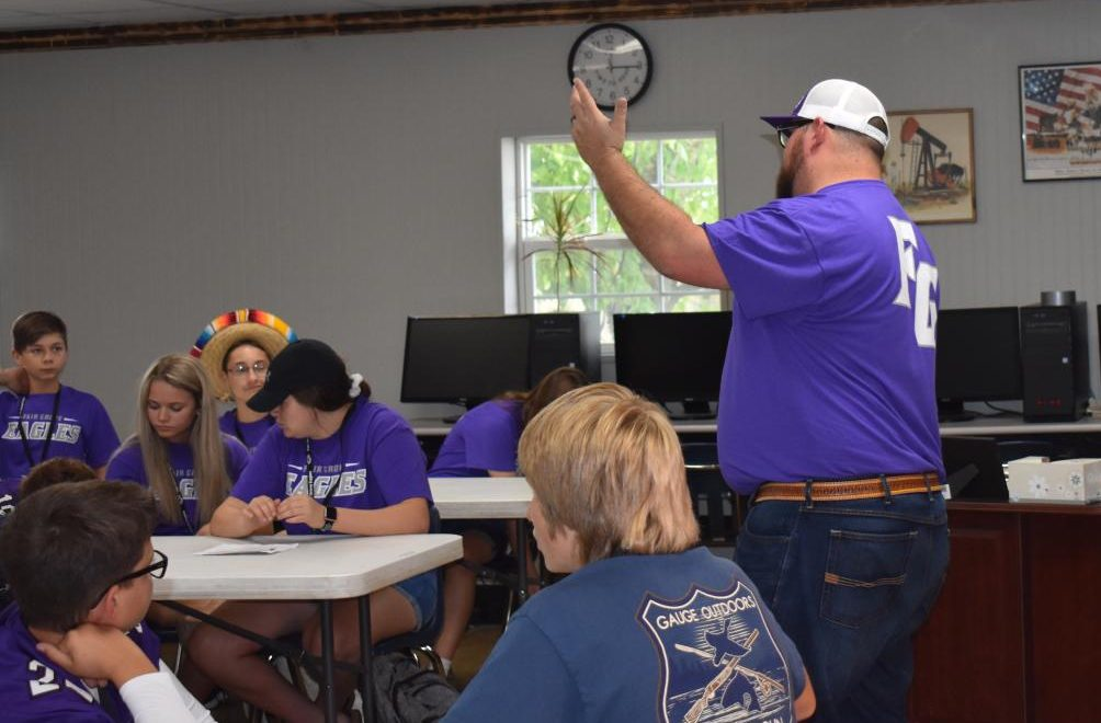 Mr. Cole Johnston teaching his new Ag Concervation class