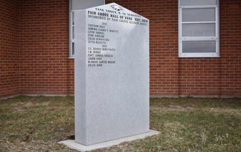 The Hall of Fame monument outside the Fair Grove High School