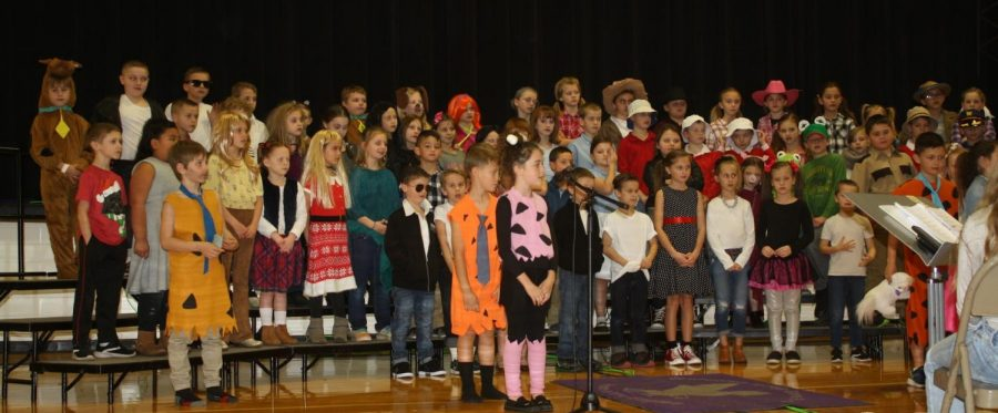 The 2nd grade elementary students performing their annual music show.