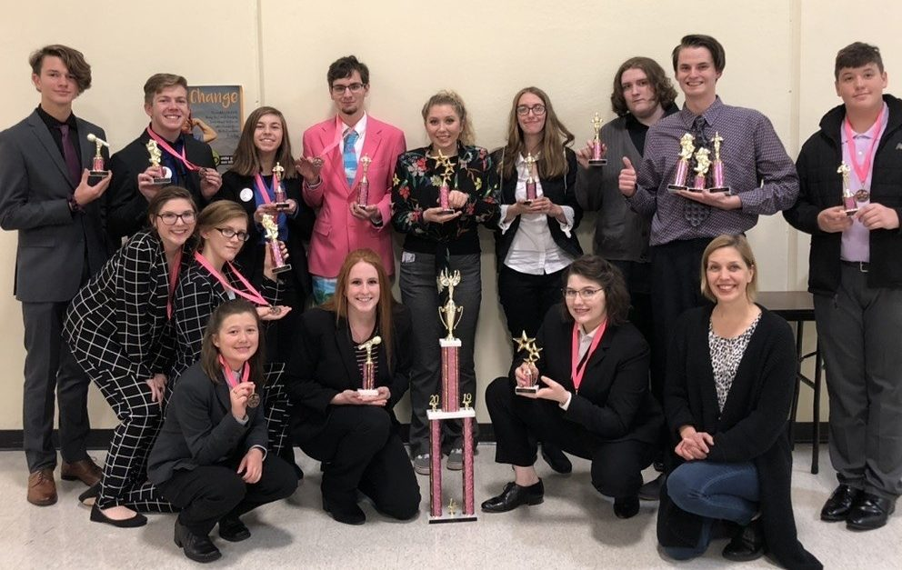 The Speech team celebrating their win at the Marion C. Early tournament