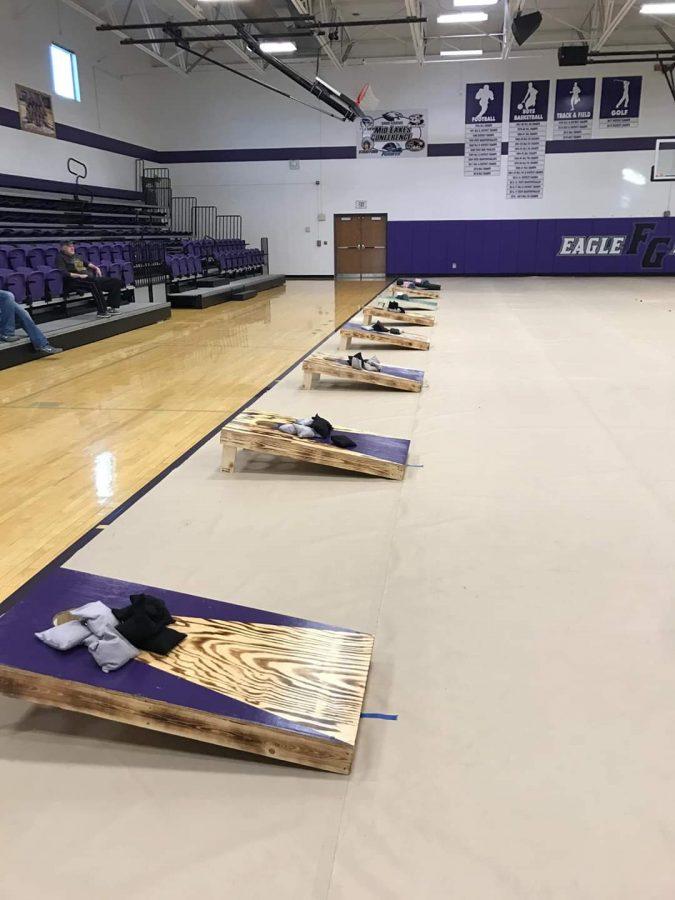 The set up for the cornhole tournament