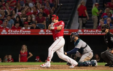 Mike Trout playing in baseball game for the Angels.