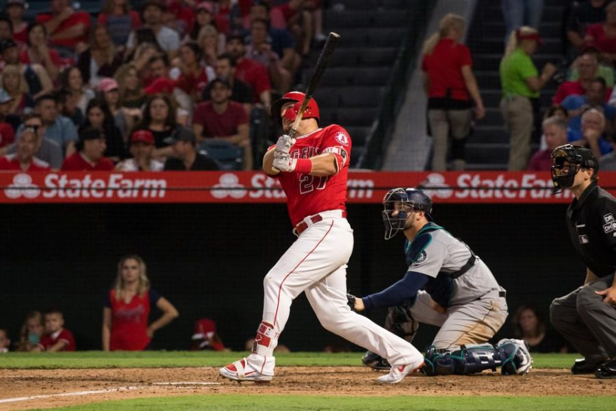 Mike+Trout+playing+in+baseball+game+for+the+Angels.