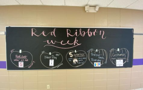 Red Ribbon Week themes in the hallway at FGHS