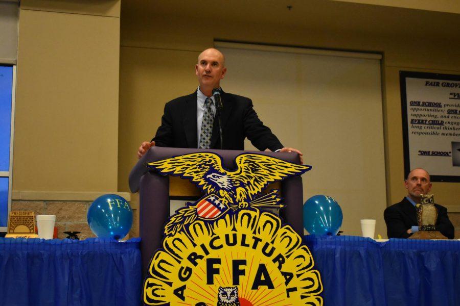 Matt Crutcher (FFA Advisor) speaking at past FFA banquet.