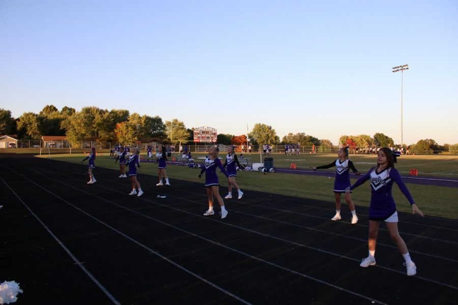 FGMS Cheerleaders performing at the home vs Stockton football game.