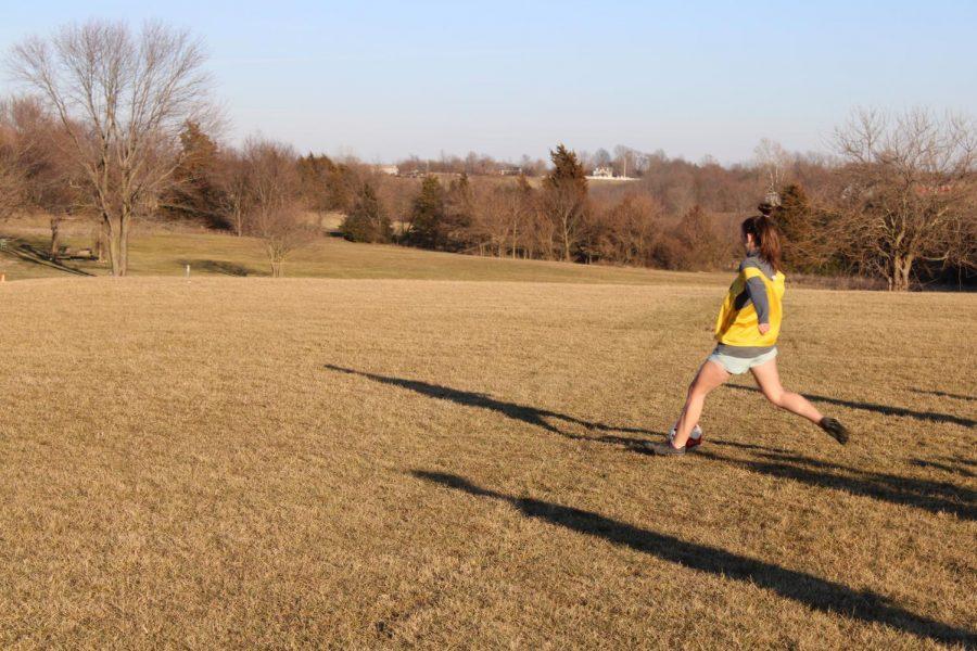 Junior, Anna Newlin, during Girls' Spring Soccer Offseason practice.