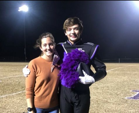 Easton Beltz with his band director, Natalie Palomo.