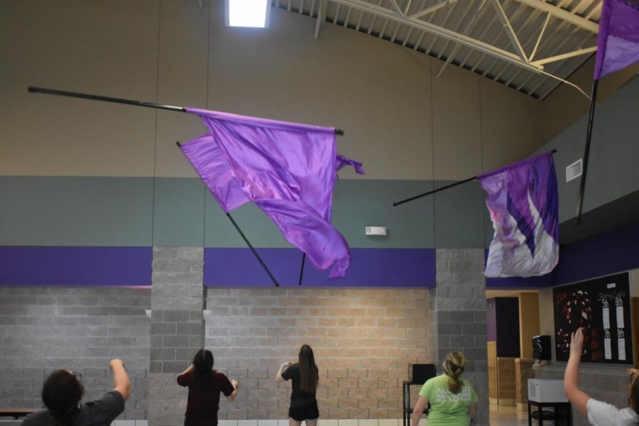 Fair Grove High School Students participating in the Color Guard Clinic.
