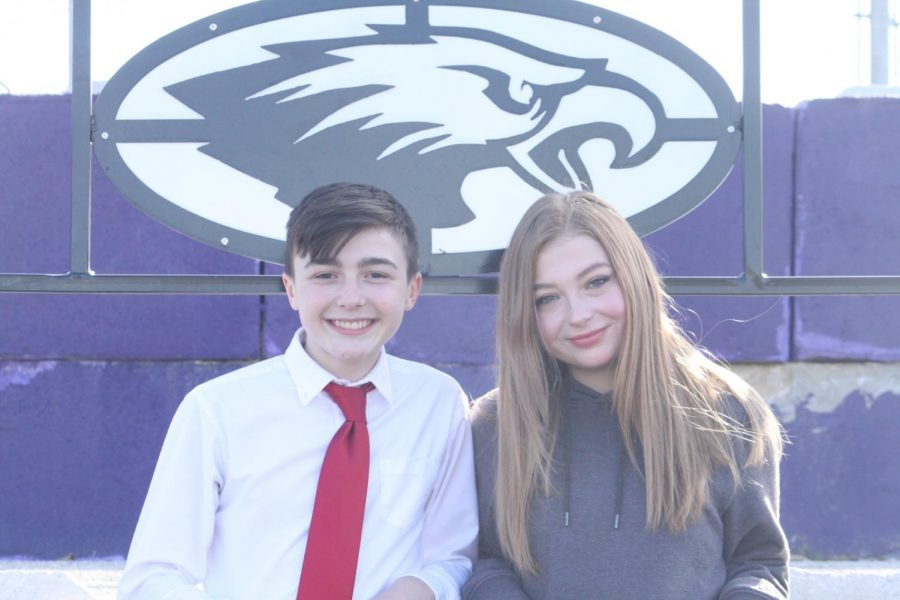 Freshmen Ayden Teaster and Hannah Bruner pictured at a viewing area at the Fair Grove football field.