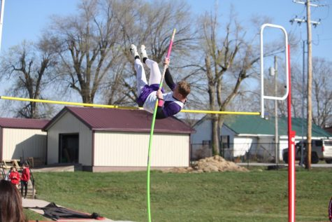 Senior, Brecken Lair pole-vaulting.