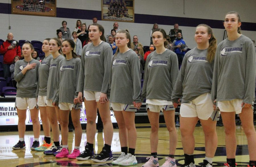 The Fair Grove Girls Basketball Team at a home game on January 21.