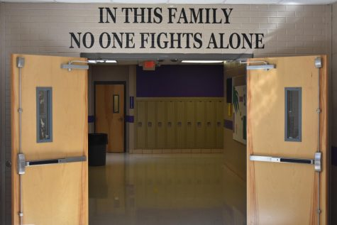 Photo of the main high school hallway.