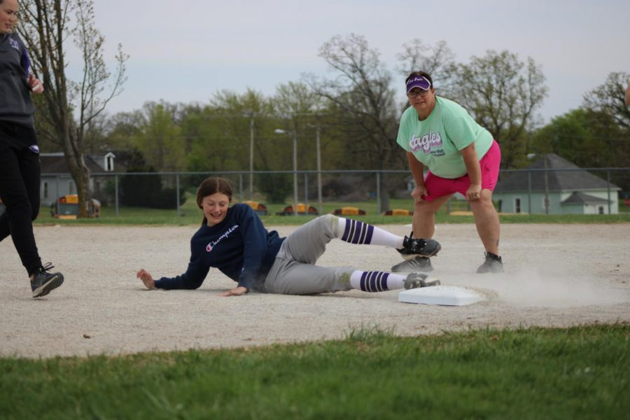Emaley Stallings, an 8th grade student, during a softball practice.
