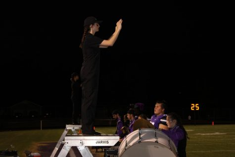 Drum Majors Zoey Hupman and Alex Kepes lead the band in their performance at the 8/27 home football game vs Mountain Grove.