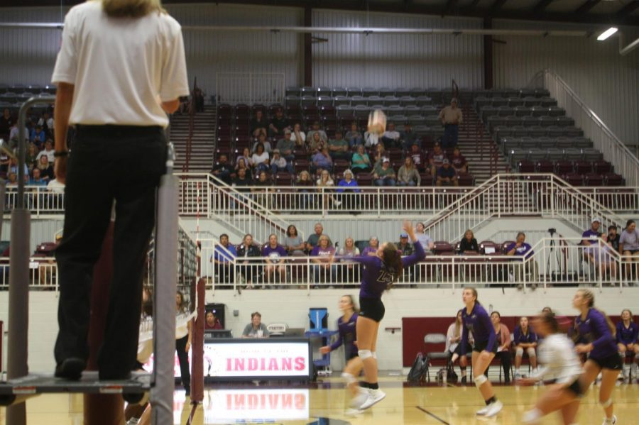 Kameron Green spikes the ball in the second set of the Strafford vs. Fair Grove volleyball game on 10/7.